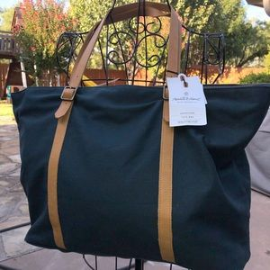 Hearth & Hand Magnolia Canvas & Leather Tote Bag